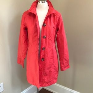 Eddie Bauer coral red raincoat trench jacket S